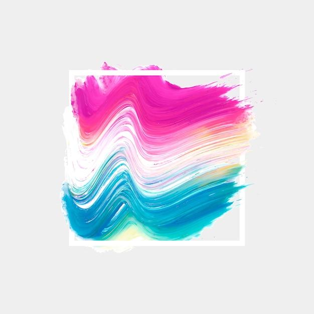 Cadre géométrique blanc avec tache aquarelle Vecteur gratuit