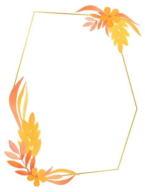 Cadre Géométrique Doré Avec Des éléments Floraux Aquarelles De Couleurs Chaudes Avec Des Fleurs Et Des Branches Vecteur Premium