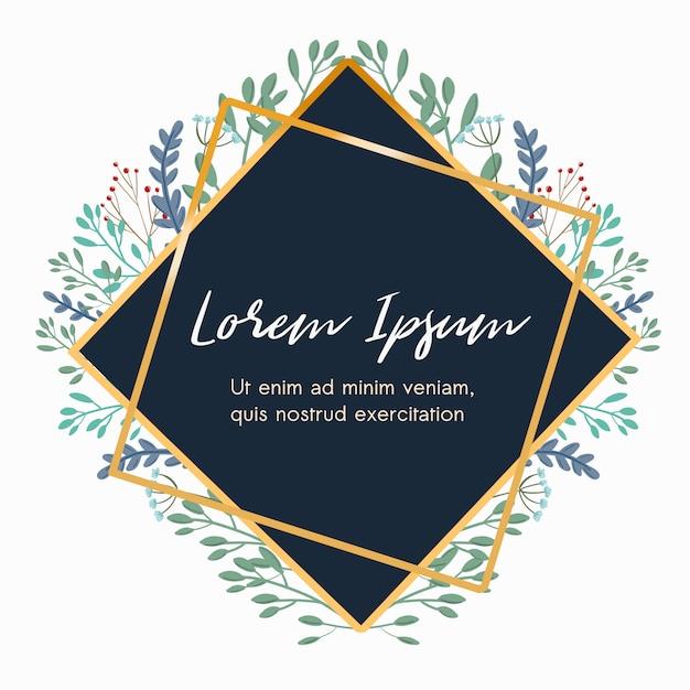Cadre géométrique nature floral pour cartes de mariage Vecteur Premium