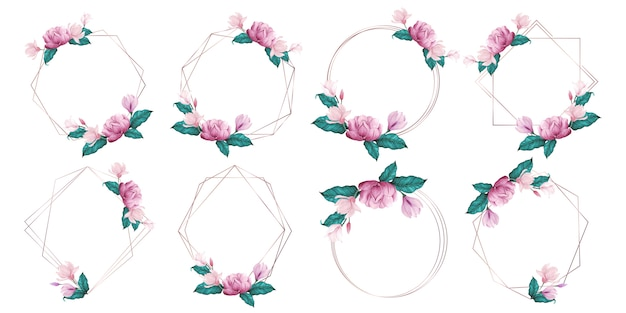 Cadre Géométrique En Or Rose Orné De Fleurs Roses Dans Un Style Aquarelle Vecteur gratuit