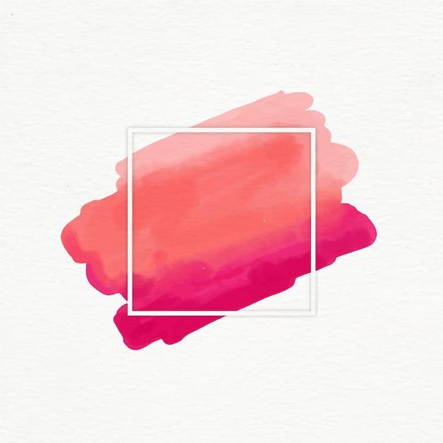 Cadre géométrique avec tache aquarelle Vecteur gratuit