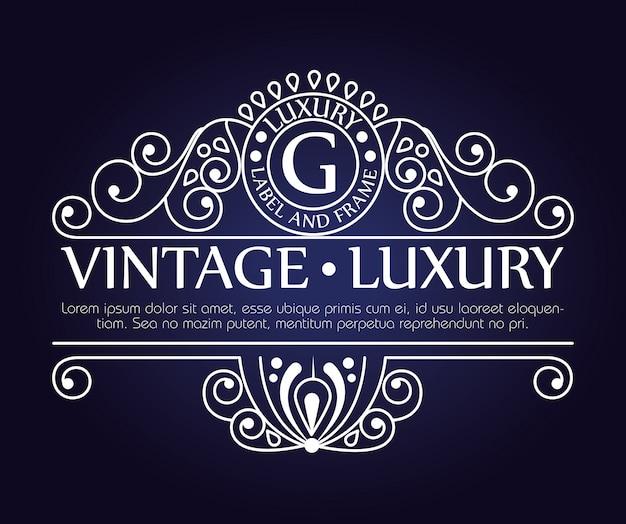Cadre graphique vintage de luxe pour étiquette ou logo avec ornements Vecteur gratuit