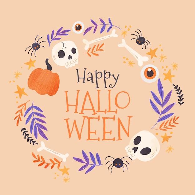 Cadre Halloween Aquarelle Vecteur Premium