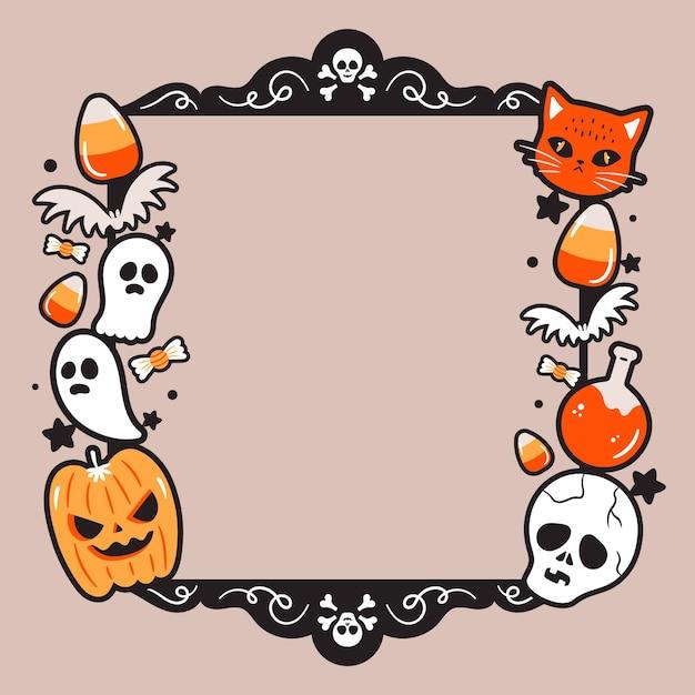 Cadre Halloween Au Design Plat Vecteur gratuit