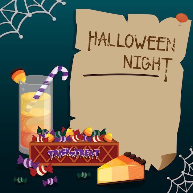 Cadre halloween bonbons mignons. modèle d'halloween. Vecteur Premium