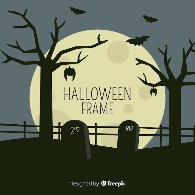 Cadre d'halloween avec cimetière Vecteur gratuit
