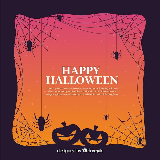 Cadre halloween avec citrouilles et araignées sur un design plat Vecteur gratuit