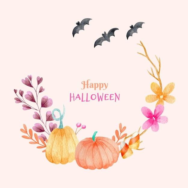 Cadre D'halloween Citrouilles Et Fleurs Vecteur gratuit