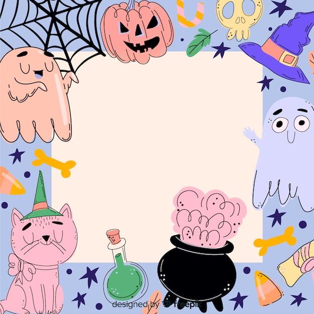 Cadre d'halloween coloré dessiné à la main Vecteur gratuit