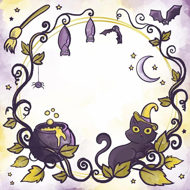 Cadre Halloween Design Aquarelle Vecteur gratuit