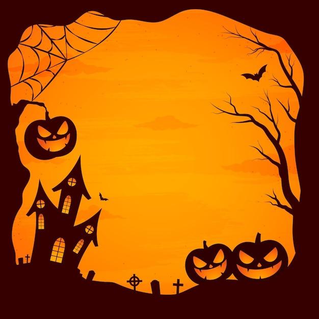 Cadre D'halloween Design Plat Vecteur Premium