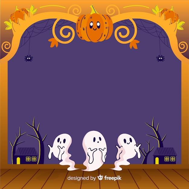 Cadre d'halloween dessiné à la main avec citrouille et fantômes Vecteur gratuit