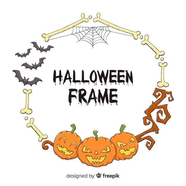 Cadre de halloween dessiné à la main effrayant Vecteur gratuit