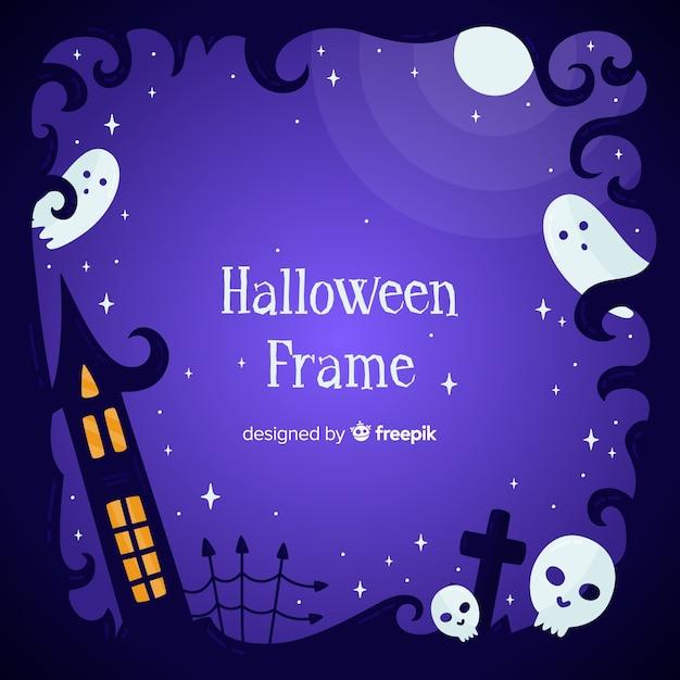 Cadre halloween dessiné à la main avec des fantômes Vecteur gratuit