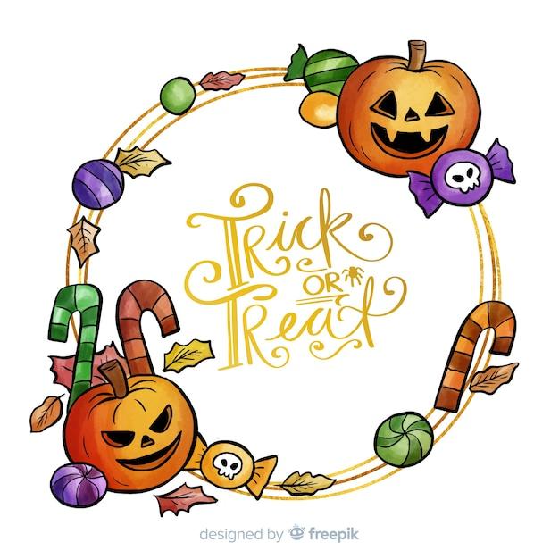 Cadre de halloween doré dessiné à la main Vecteur gratuit