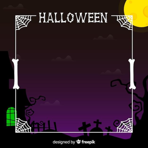 Cadre halloween effrayant avec un design plat Vecteur gratuit