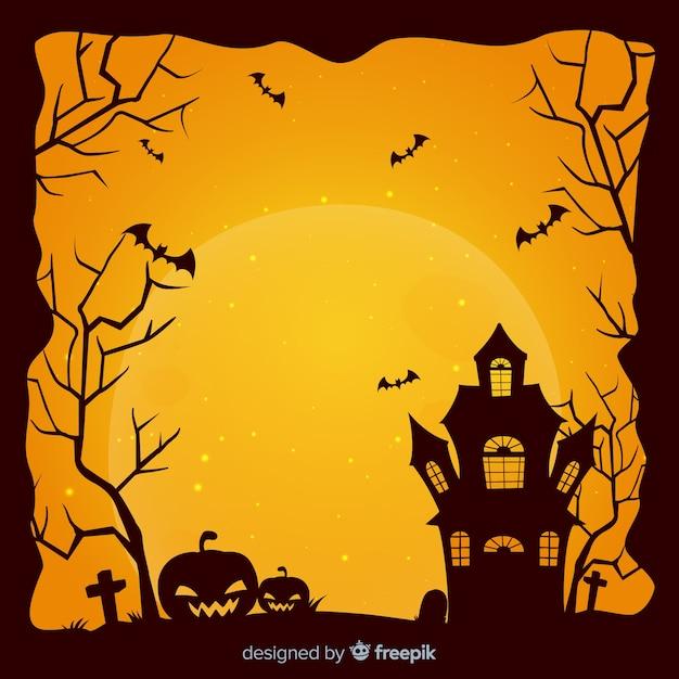 Cadre halloween effrayant avec style vintage Vecteur gratuit