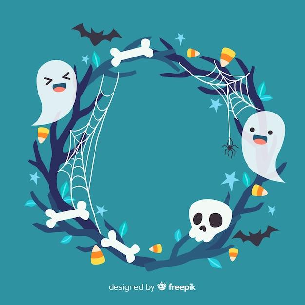 Cadre d'halloween mignon avec des fantômes Vecteur gratuit