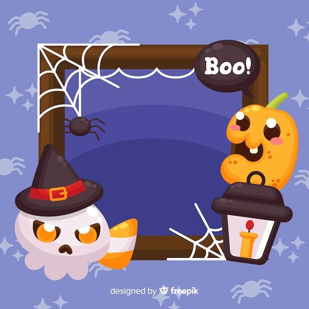 Cadre Halloween Plat Avec Enfant Fantôme Et Citrouille Vecteur gratuit
