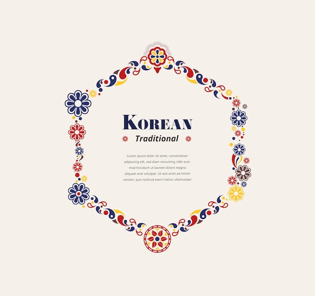Cadre Hexagonal Traditionnel De Corée Vecteur Premium