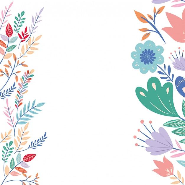 Cadre avec icône de fleurs et feuilles Vecteur Premium