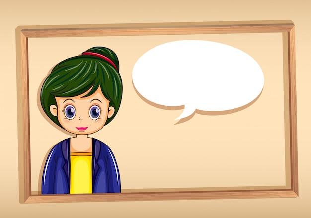 Un cadre avec une image d'une fille avec une légende vide Vecteur gratuit