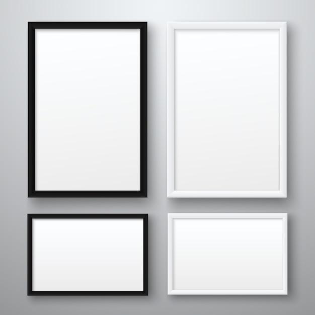 Cadre d'images vide réaliste blanc et noir sur fond gris Vecteur Premium