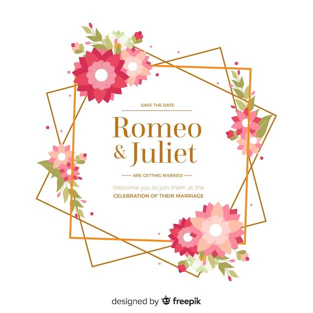 Cadre d'invitation de mariage floral au design plat Vecteur gratuit