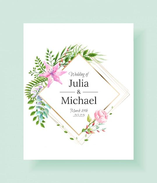 Cadre d'invitation de mariage mis fleurs, feuilles, aquarelle Vecteur Premium