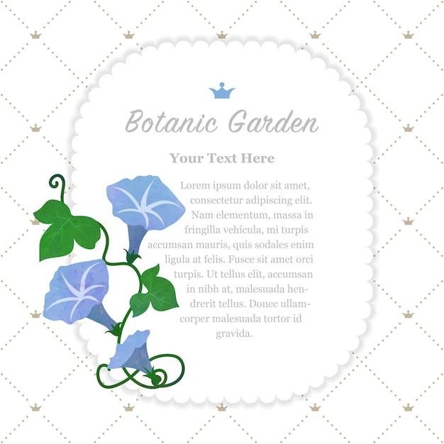 Cadre De Jardin Botanique Bleu Clair Gloire Du Matin Vecteur Premium
