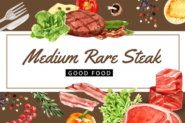 Cadre De Journée Mondiale De La Nourriture Avec Steak De Boeuf, Butterhead, Illustration Aquarelle De Bol De Salade Verte. Vecteur gratuit