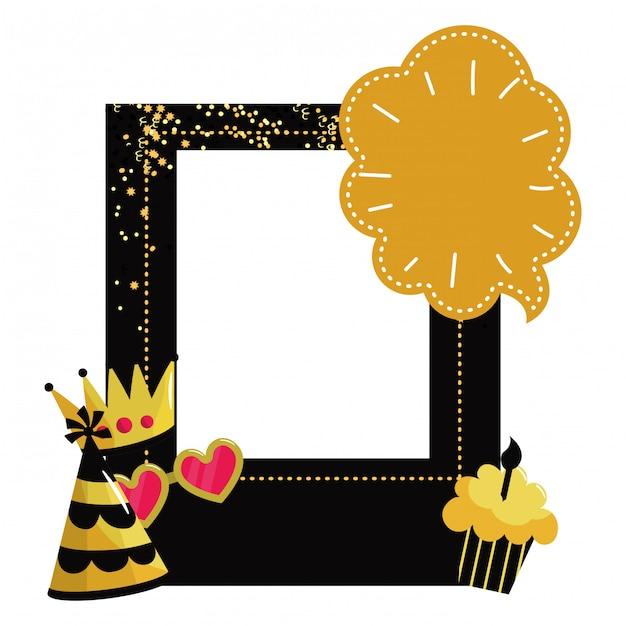 Cadre joyeux anniversaire Vecteur Premium