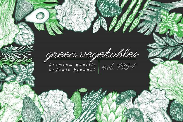 Cadre De Légume Vert Vecteur Premium