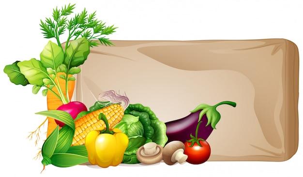 Cadre avec des légumes frais Vecteur gratuit