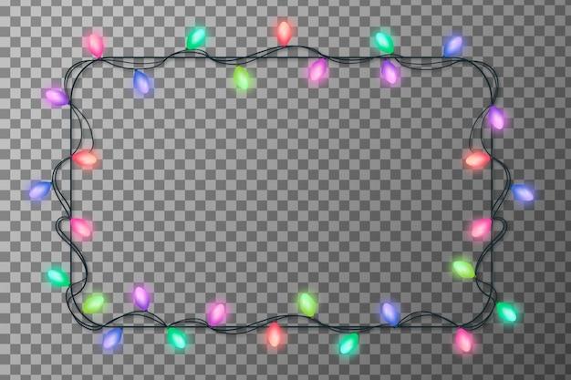Cadre De Lumières De Noël Réaliste Vecteur gratuit