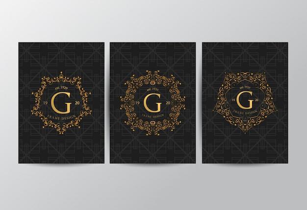 Cadre de luxe avec couleur dorée Vecteur Premium