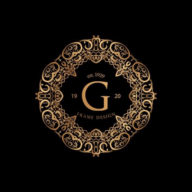 Cadre luxe avec logo doré Vecteur Premium