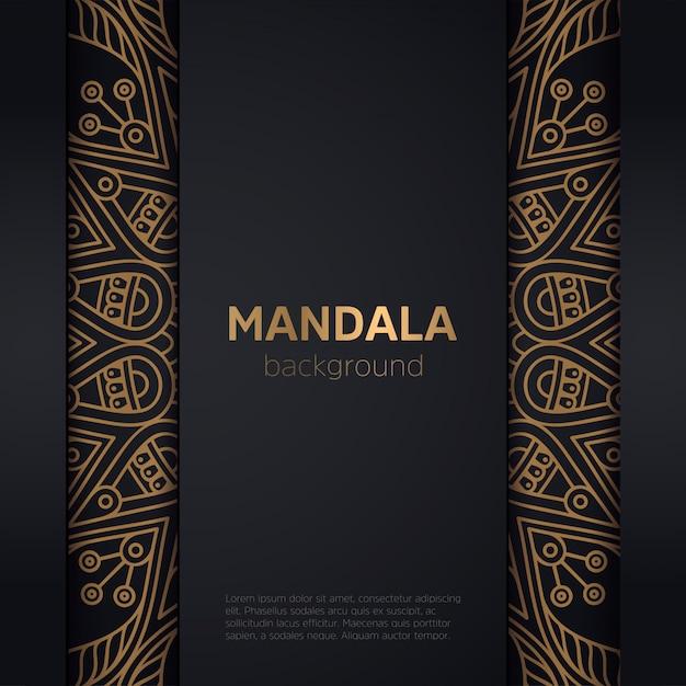 Cadre de mandala doré ornemental de luxe Vecteur gratuit