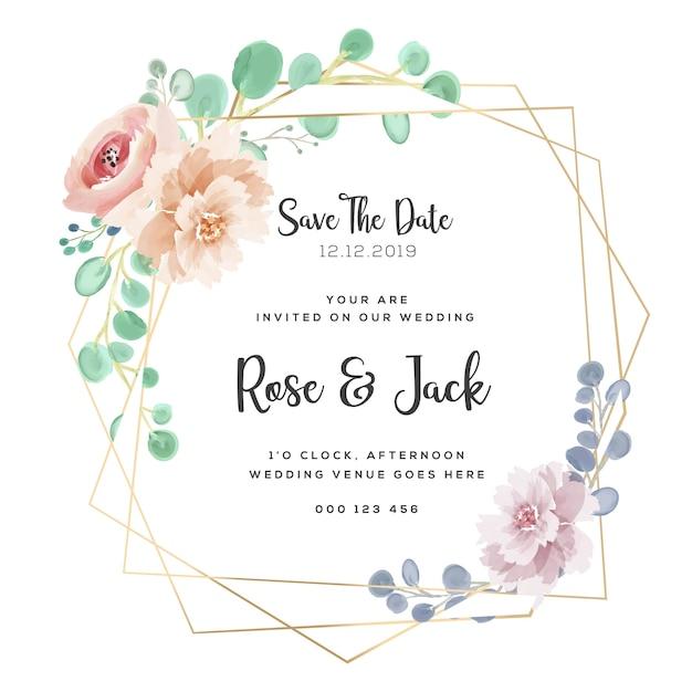 Cadre de mariage aquarelle bourgogne et blush floral floral Vecteur Premium