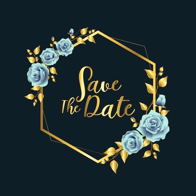 Cadre de mariage bleu rose or Vecteur Premium