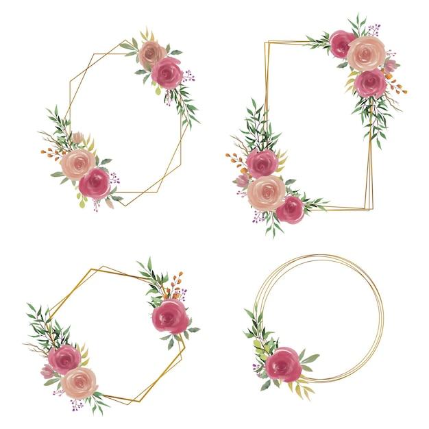 Cadre De Mariage Avec Décoration De Bouquet De Fleurs Aquarelle Vecteur Premium