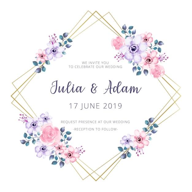 Cadre de mariage doré avec des fleurs à l'aquarelle Vecteur gratuit