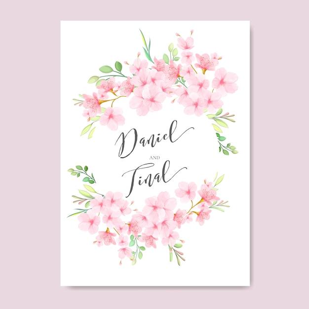Cadre de mariage fleurs de cerisier floral Vecteur Premium