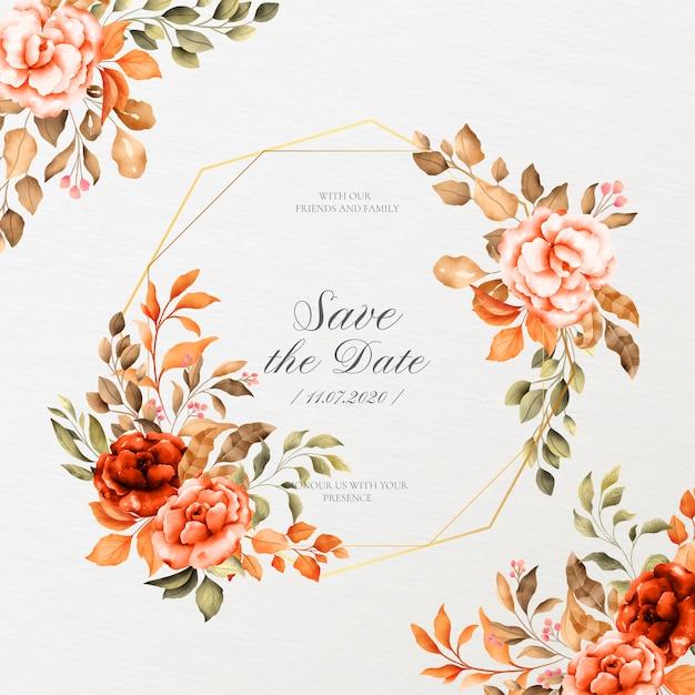 Cadre De Mariage Romantique Avec Des Fleurs Vintage Vecteur gratuit