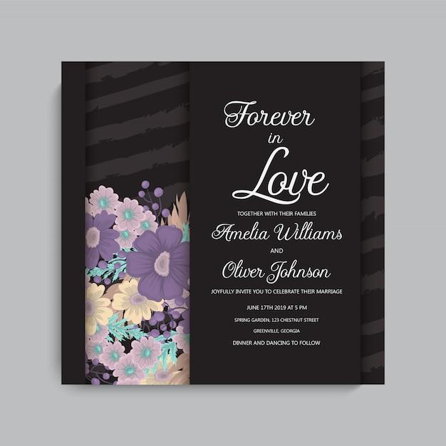 Cadre de mariage sombre élégant avec des fleurs. Vecteur gratuit