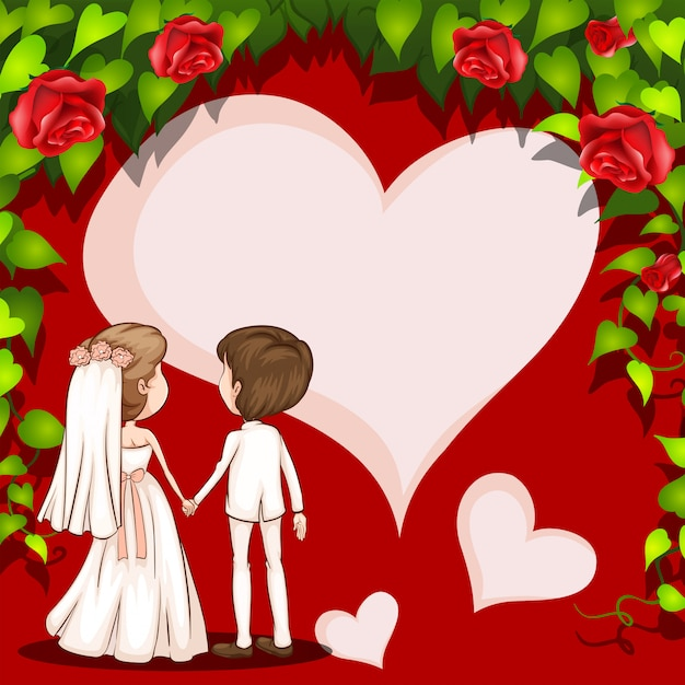 Cadre de mariage Vecteur gratuit