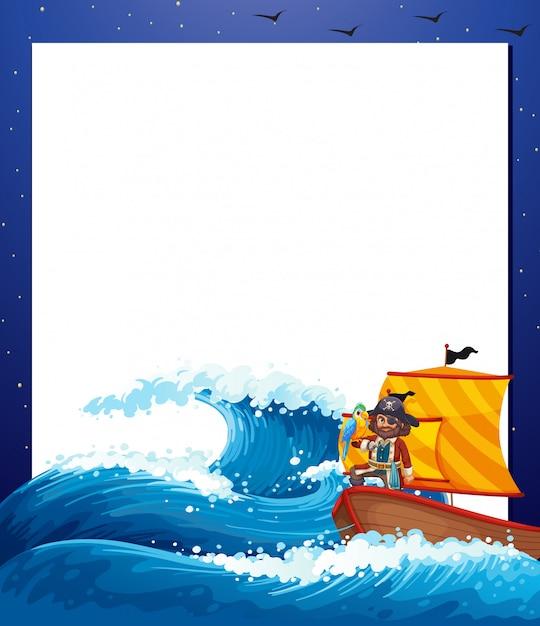 Cadre De La Mer Pirate Vecteur gratuit