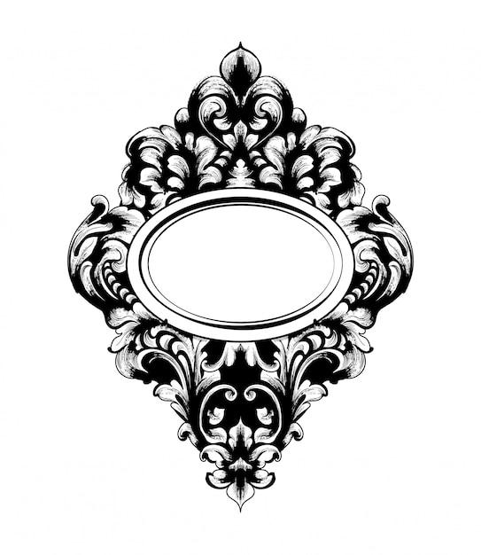 Cadre De Miroir Baroque Impérial Vecteur Premium