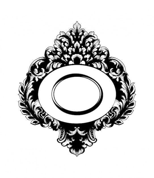 Cadre De Miroir Baroque Vintage Vecteur Premium