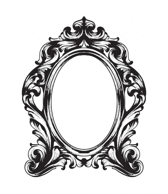 Cadre De Miroir Baroque Vecteur Premium